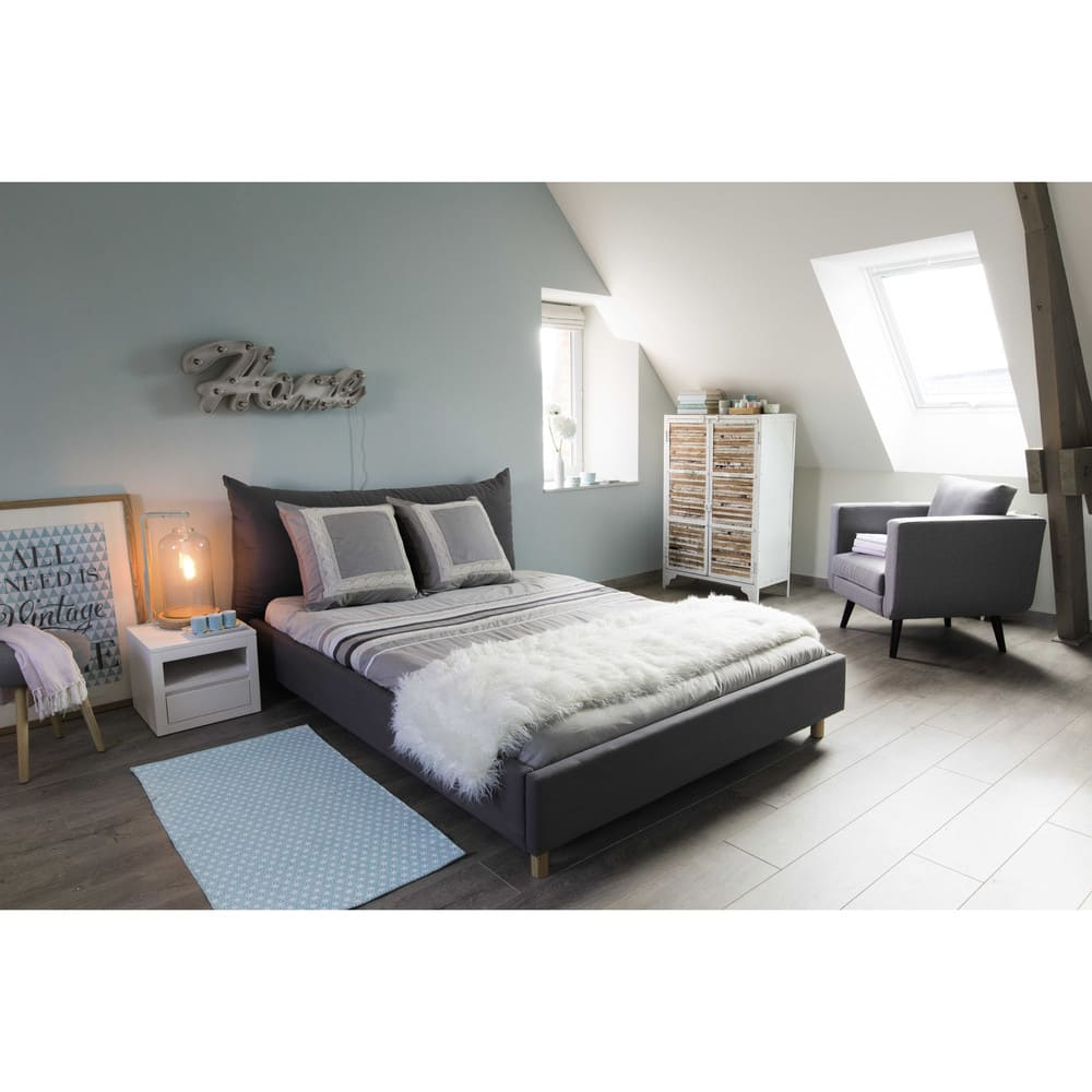 lit 140x190 avec sommier lattes gris fergus maisons du monde. Black Bedroom Furniture Sets. Home Design Ideas