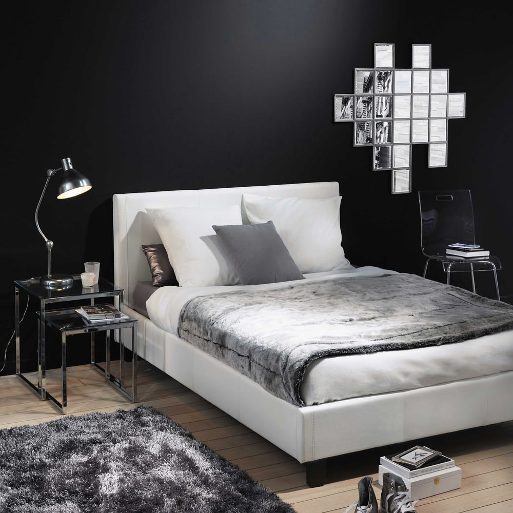 lit 140x190 blanc avec sommier lattes zen maisons du monde. Black Bedroom Furniture Sets. Home Design Ideas