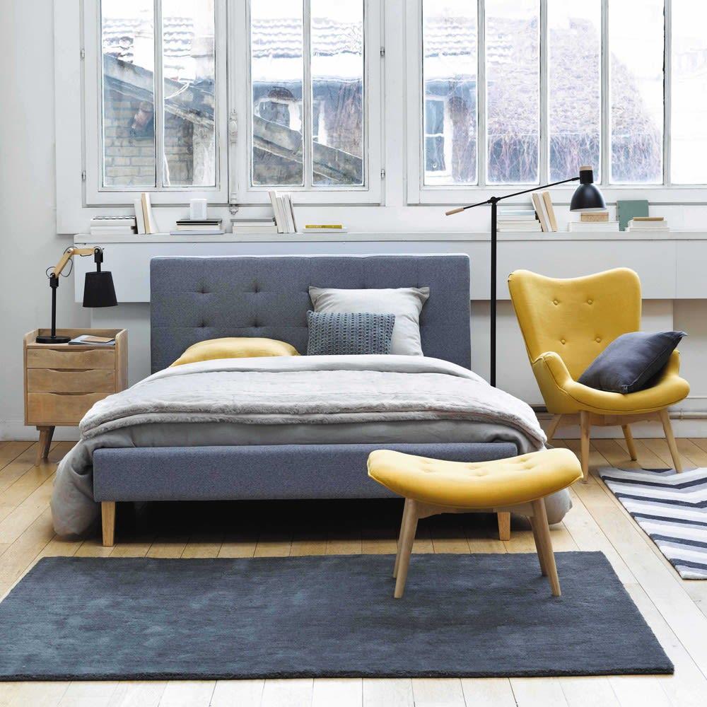 Lit 140x190 En Tissu Gris Brent Maisons Du Monde