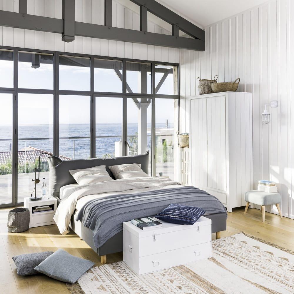 lit 160x200 avec sommier lattes gris fergus maisons du monde. Black Bedroom Furniture Sets. Home Design Ideas