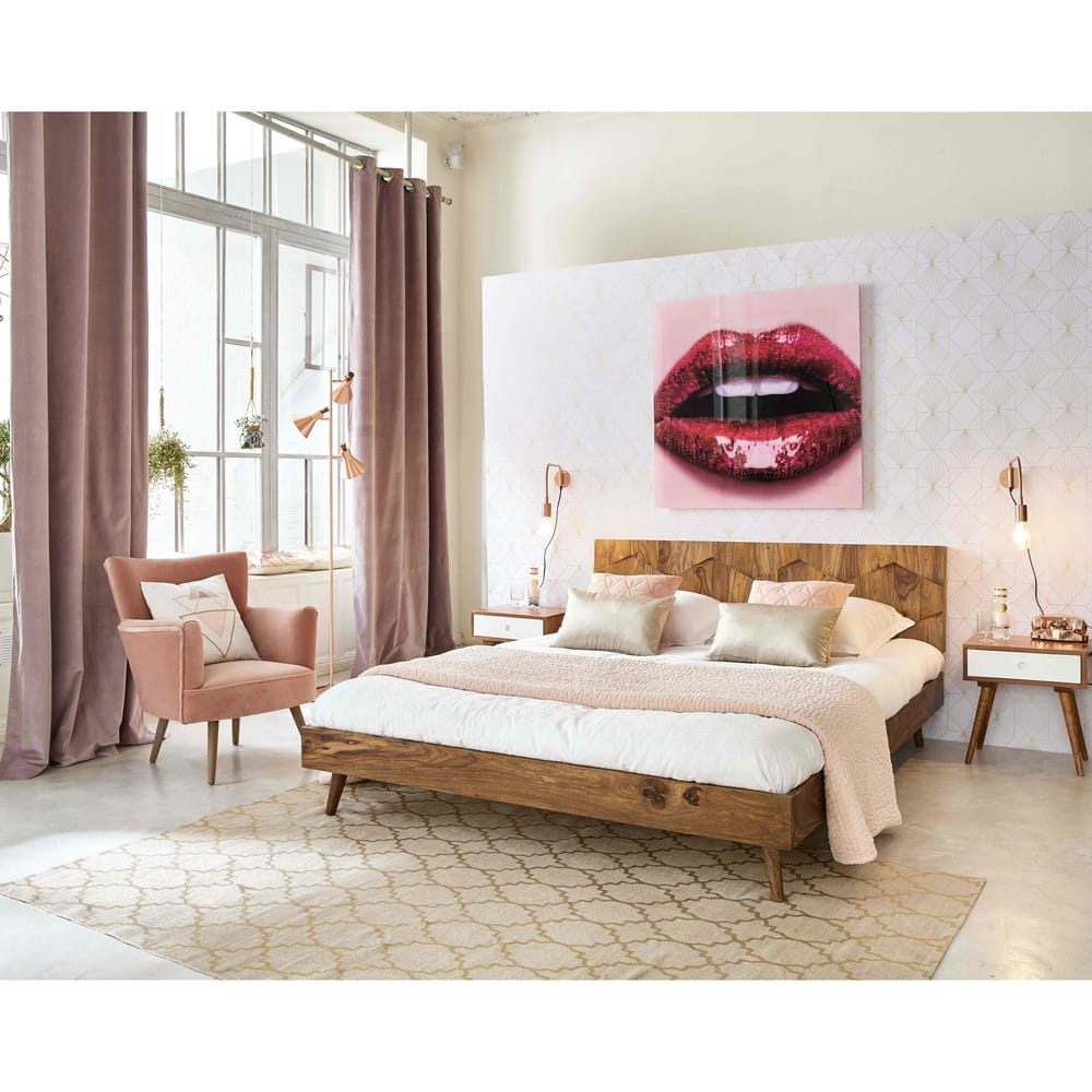lit 160x200 en bois de sheesham massif quadra maisons du. Black Bedroom Furniture Sets. Home Design Ideas