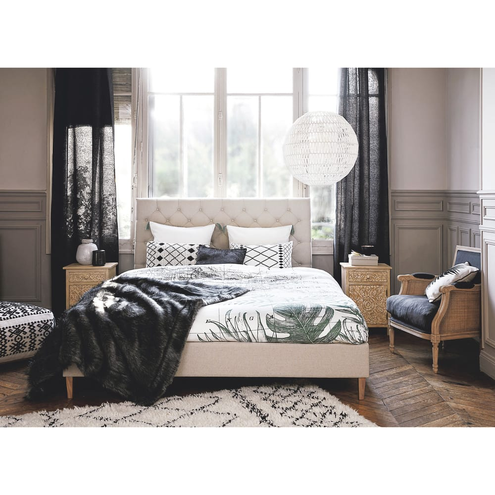 lit 180x200 capitonn avec sommier lattes chesterfield maisons du monde. Black Bedroom Furniture Sets. Home Design Ideas