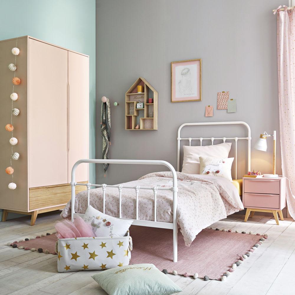 lit 90x190 en m tal blanc cass karl maisons du monde. Black Bedroom Furniture Sets. Home Design Ideas