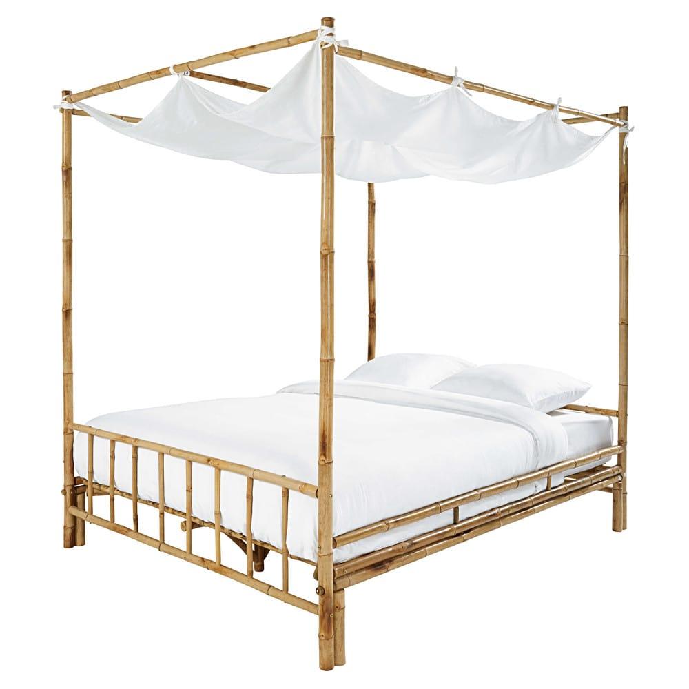 lit baldaquin 160x200 en bambou et tissu blanc coconut maisons du monde. Black Bedroom Furniture Sets. Home Design Ideas