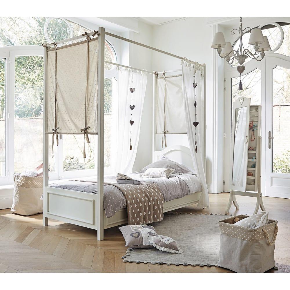 lit baldaquin 90x190 en bois blanc manosque maisons du monde. Black Bedroom Furniture Sets. Home Design Ideas