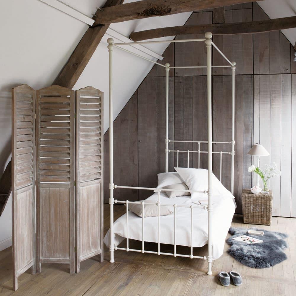 lit baldaquin 90x190 en m tal blanc syracuse maisons. Black Bedroom Furniture Sets. Home Design Ideas