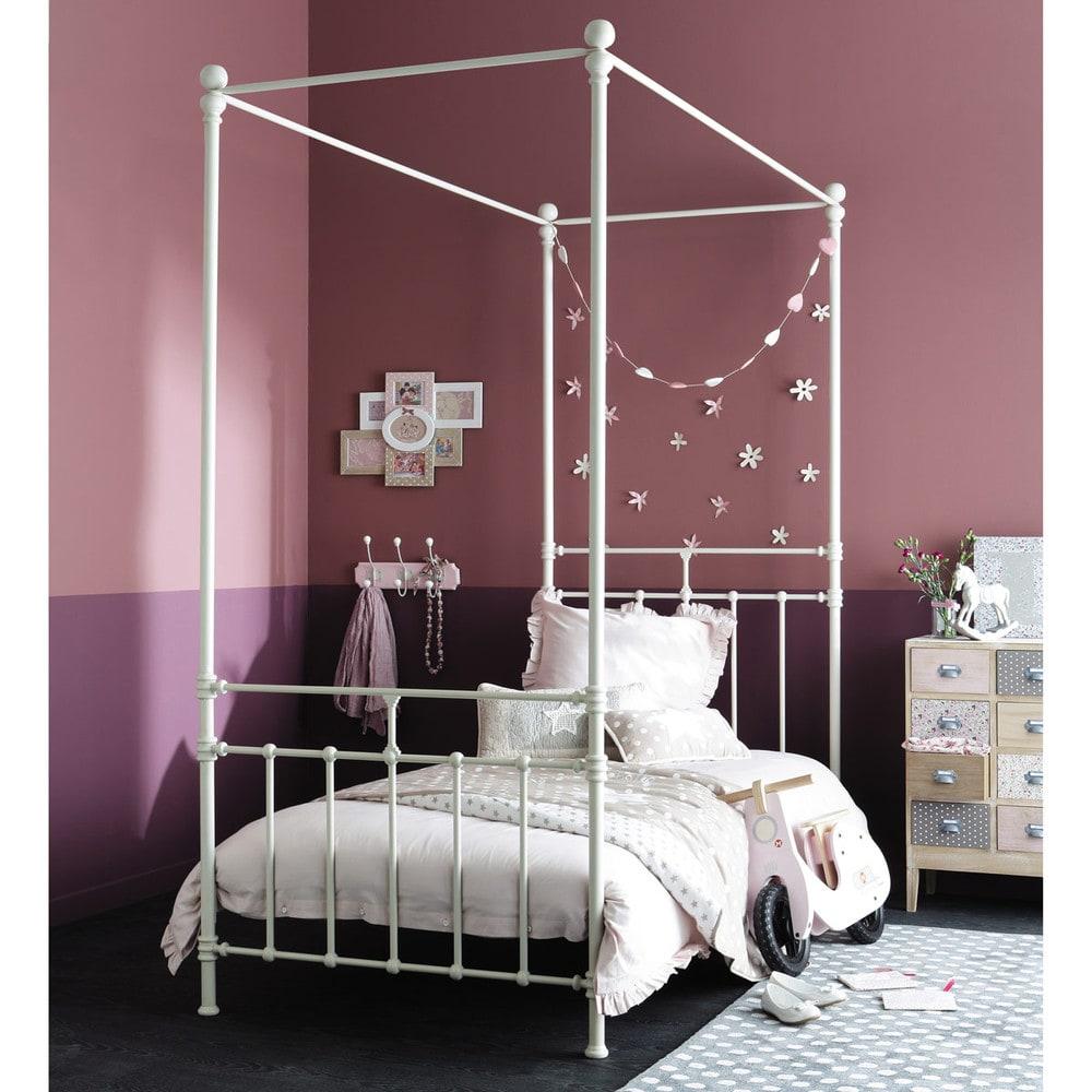 lit baldaquin 90x190 en m tal blanc syracuse maisons du monde. Black Bedroom Furniture Sets. Home Design Ideas