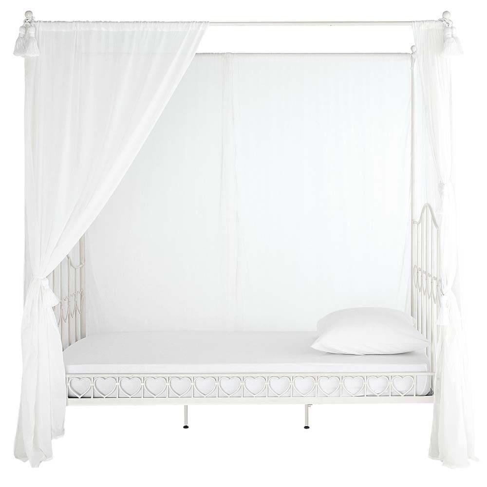 lit baldaquin 90x190 en m tal ivoire eglantine maisons du monde. Black Bedroom Furniture Sets. Home Design Ideas