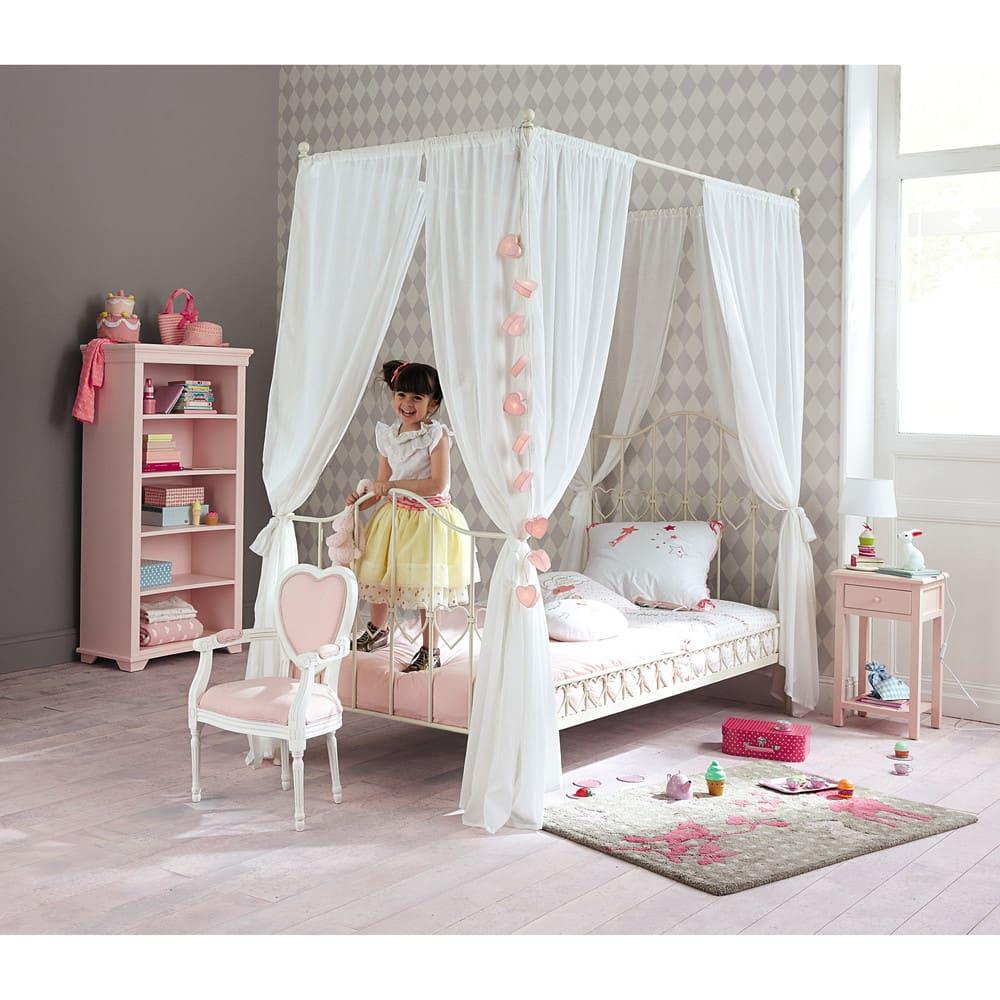 lit baldaquin 90x190 en m tal ivoire eglantine maisons. Black Bedroom Furniture Sets. Home Design Ideas