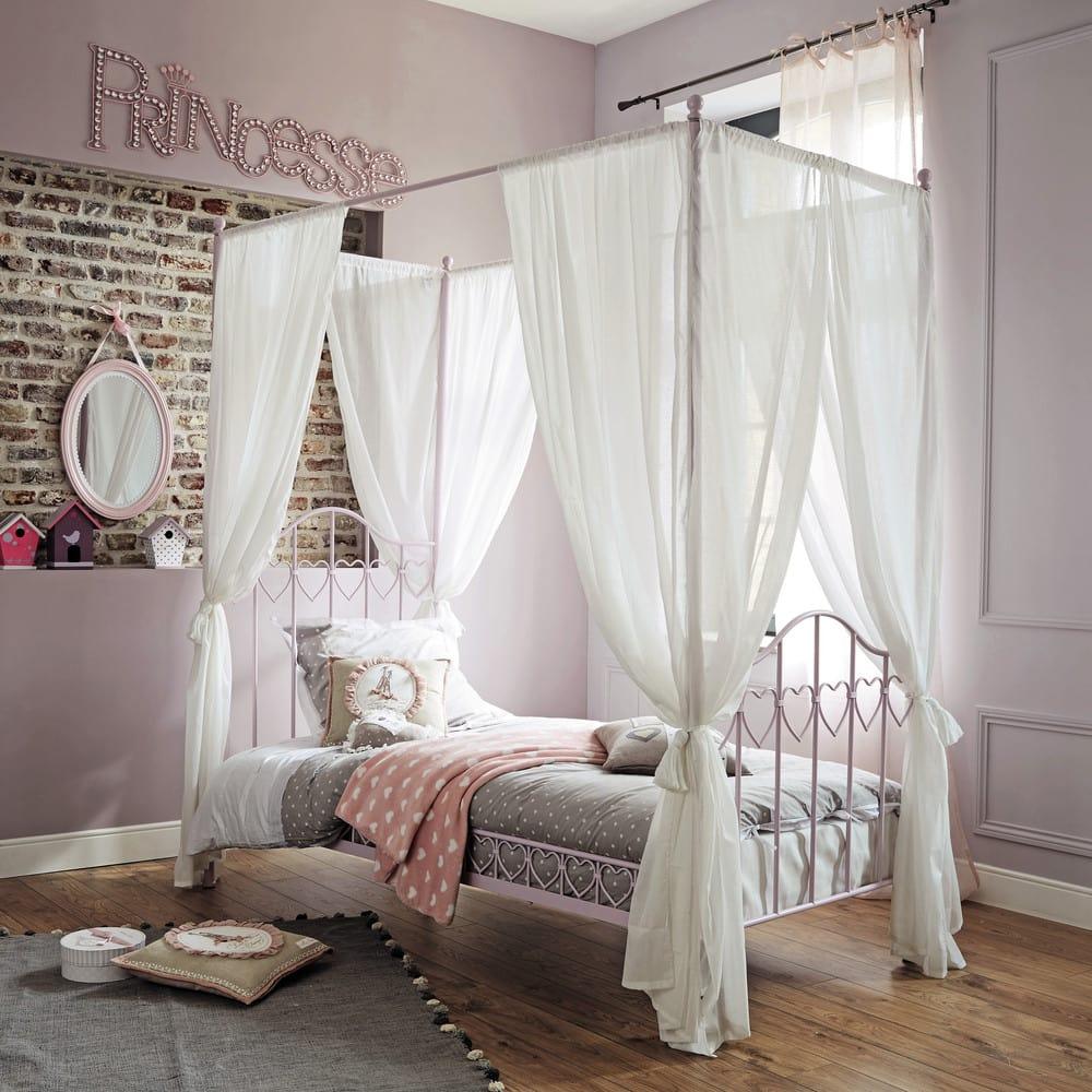 lit baldaquin 90x190 en m tal rose eglantine maisons du monde. Black Bedroom Furniture Sets. Home Design Ideas