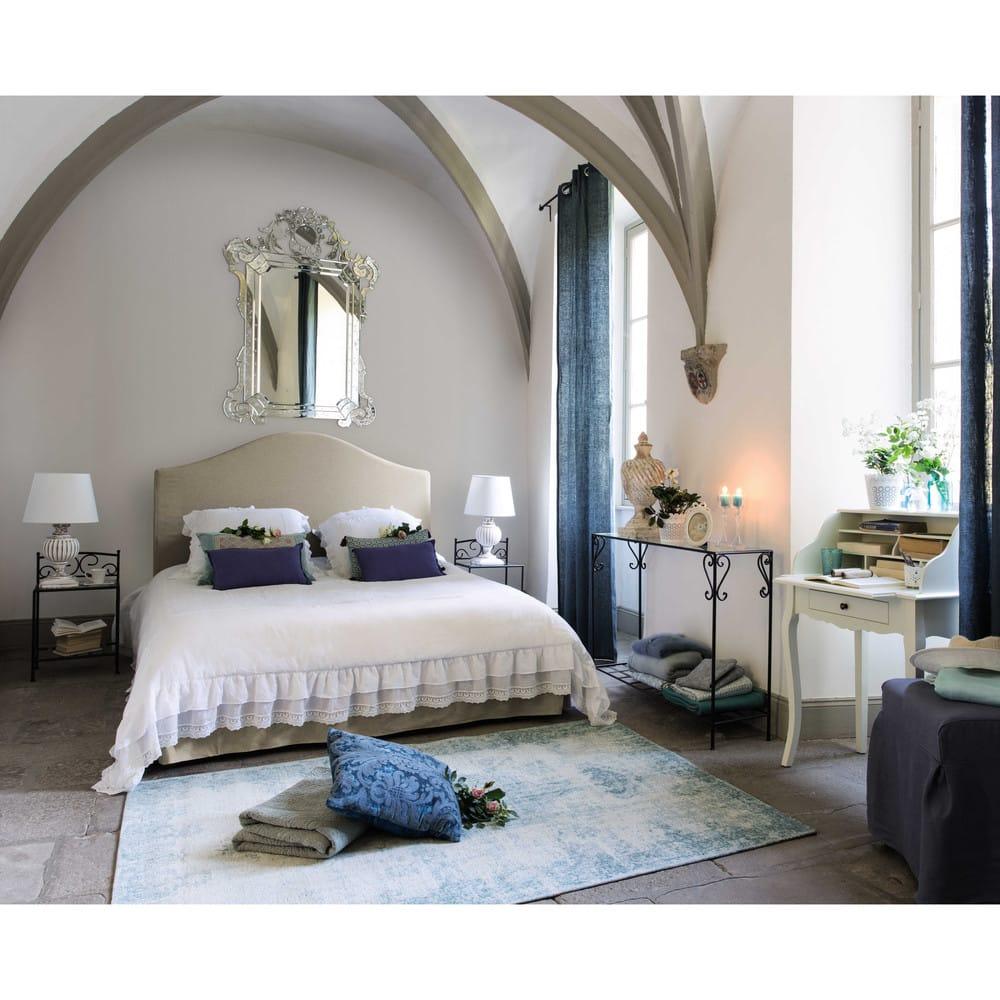 lit housser avec sommier lattes 160x200 en lin danceny maisons du monde. Black Bedroom Furniture Sets. Home Design Ideas