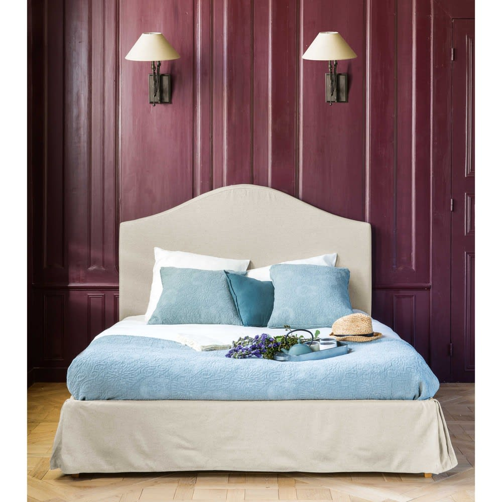 lit housser avec sommier lattes 160x200 en lin danceny maisons du monde. Black Bedroom Furniture Sets. Home Design Ideas