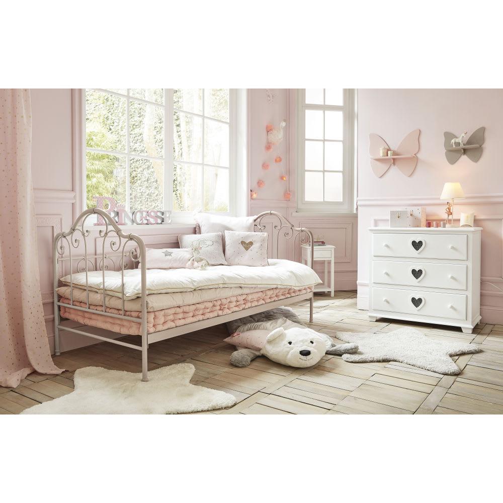 lit banquette 90x190 en m tal taupe juliette maisons du monde. Black Bedroom Furniture Sets. Home Design Ideas