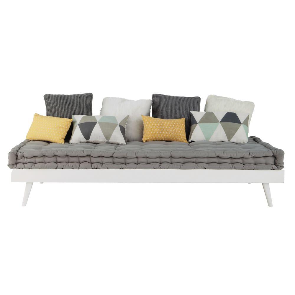 lit banquette 90x190 en pin blanc sixties maisons du monde. Black Bedroom Furniture Sets. Home Design Ideas