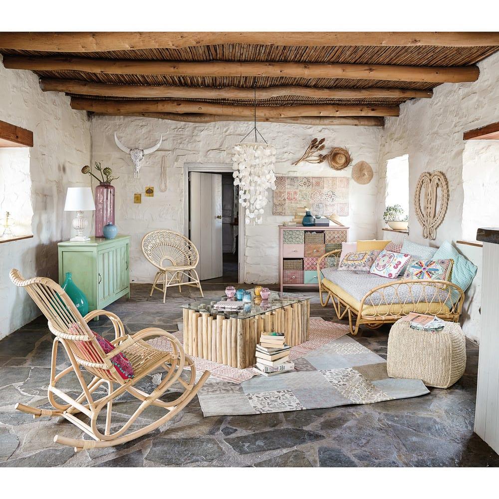 Lit banquette 90x190 en rotin suzane maisons du monde - Banco maison du monde ...