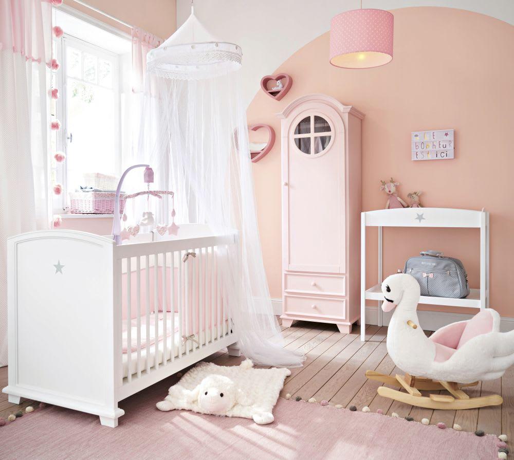 Lit Bébé à Barreaux Blanc Imprimé étoile L131 Pastel