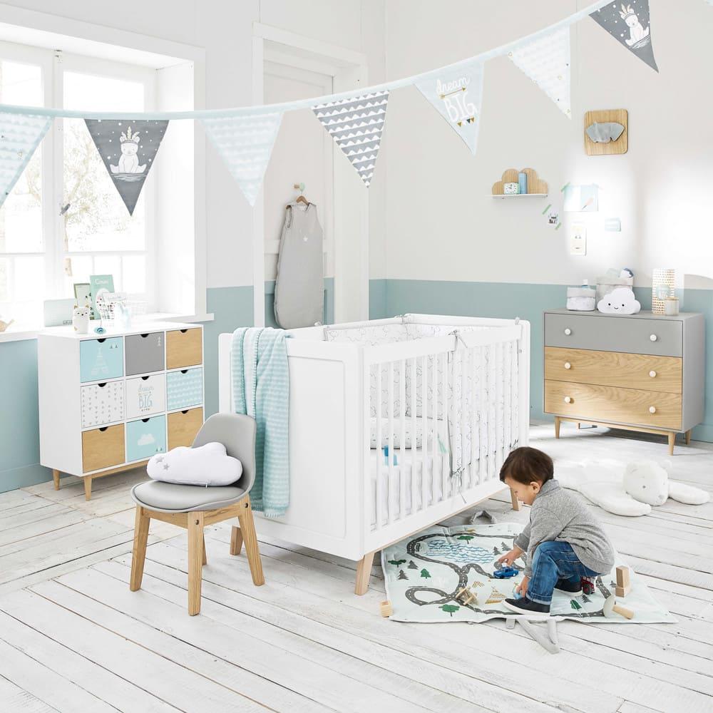 Lit bébé à barreaux blanc L126 Sweet | Maisons du Monde