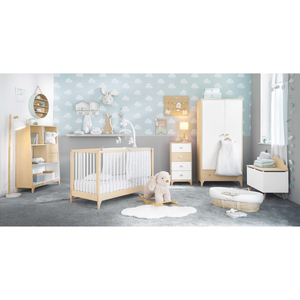 Lit bébé à barreaux blancs L126 Moonlight   Maisons du Monde
