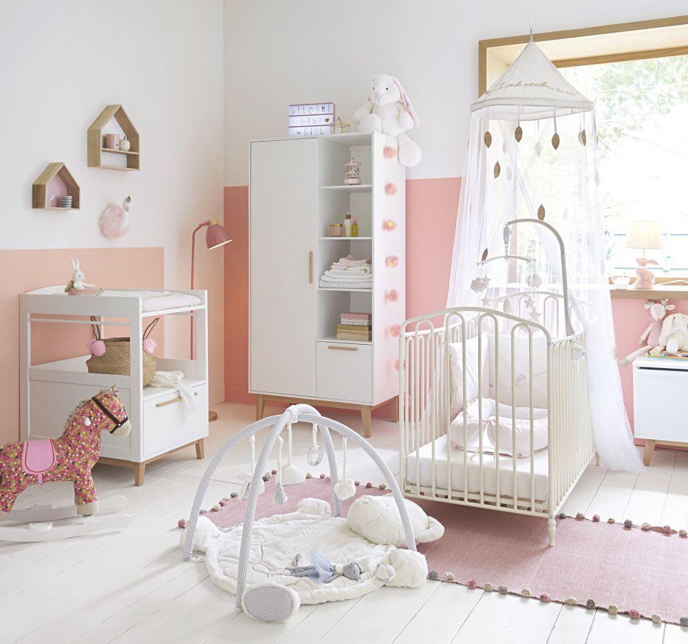 lit b b barreaux en m tal blanc cass l126 juliette. Black Bedroom Furniture Sets. Home Design Ideas