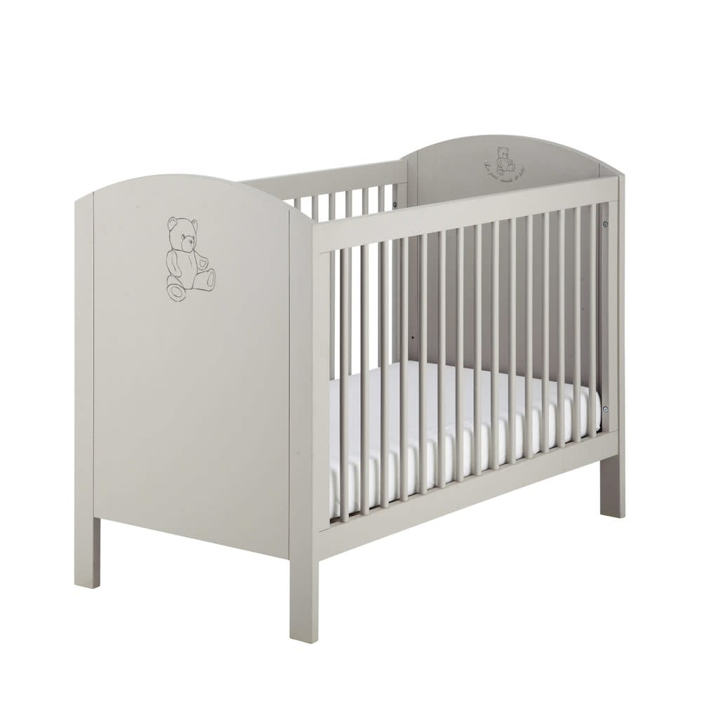 lit b b barreaux taupe l126 ourson maisons du monde. Black Bedroom Furniture Sets. Home Design Ideas