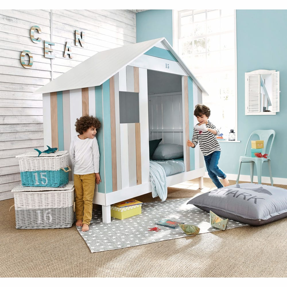 lit cabane enfant 90x190 blanc et bleu oc an maisons du. Black Bedroom Furniture Sets. Home Design Ideas