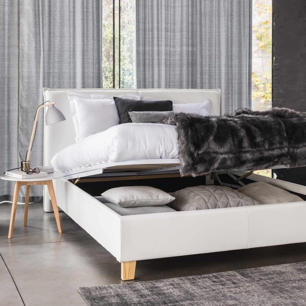 lit coffre avec sommier lattes 140x190 blanc pillow maisons du monde. Black Bedroom Furniture Sets. Home Design Ideas
