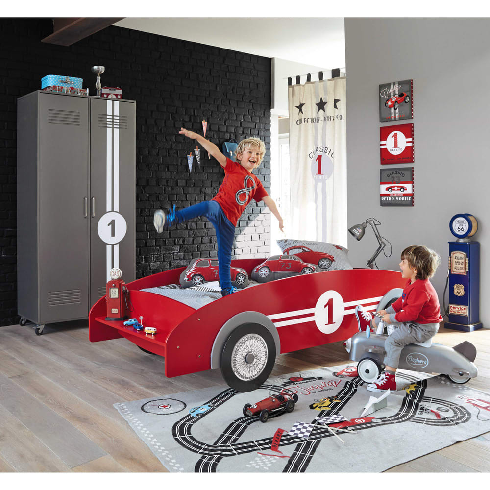 lit voiture enfant 90x190 rouge circuit maisons du monde. Black Bedroom Furniture Sets. Home Design Ideas