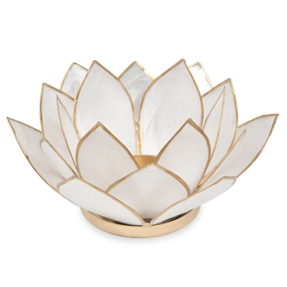 white metal pearlescent candle holder Lotus | Maisons du Monde
