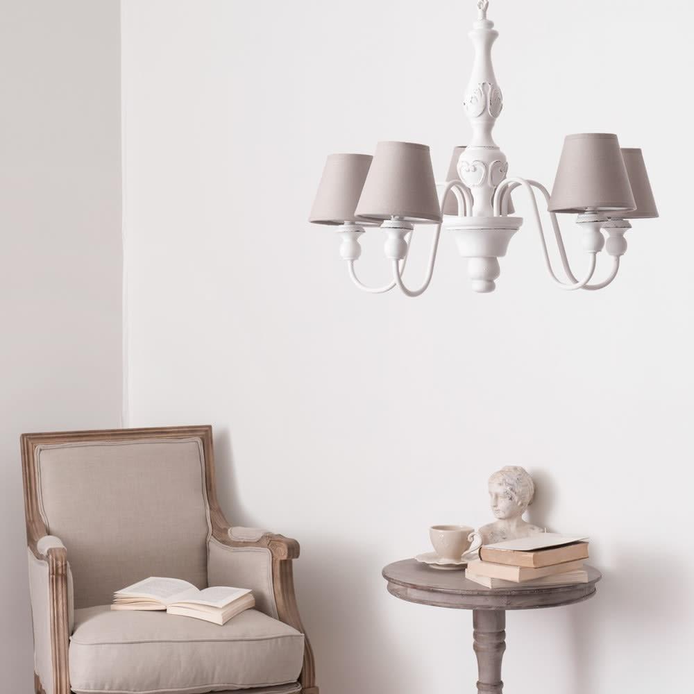 lustre 5 branches blanc d 55 cm bovary maisons du monde. Black Bedroom Furniture Sets. Home Design Ideas