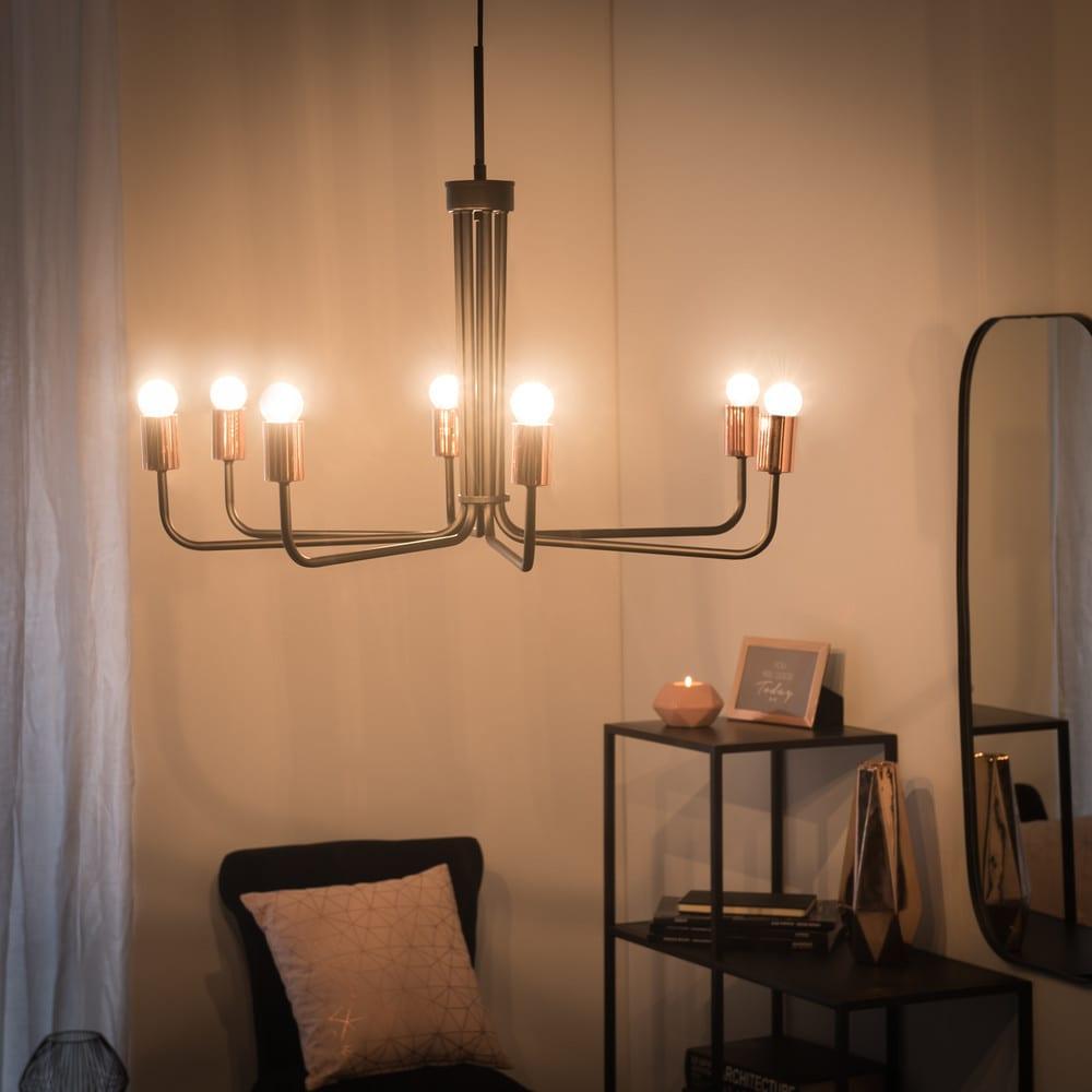 lustre 7 branches en m tal noir betty maisons du monde. Black Bedroom Furniture Sets. Home Design Ideas