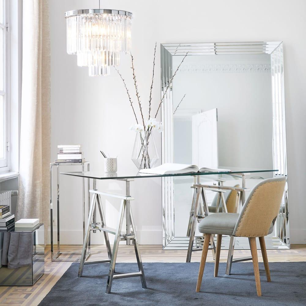 lustre en m tal chrom et pampilles en verre palacio. Black Bedroom Furniture Sets. Home Design Ideas