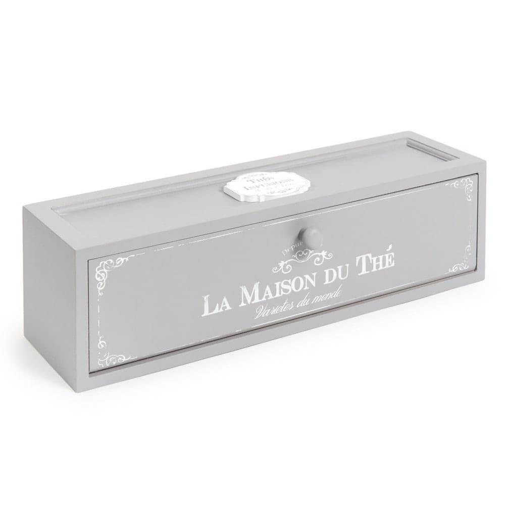 tea box in grey 10 x 37 cm Maison Du The | Maisons du Monde