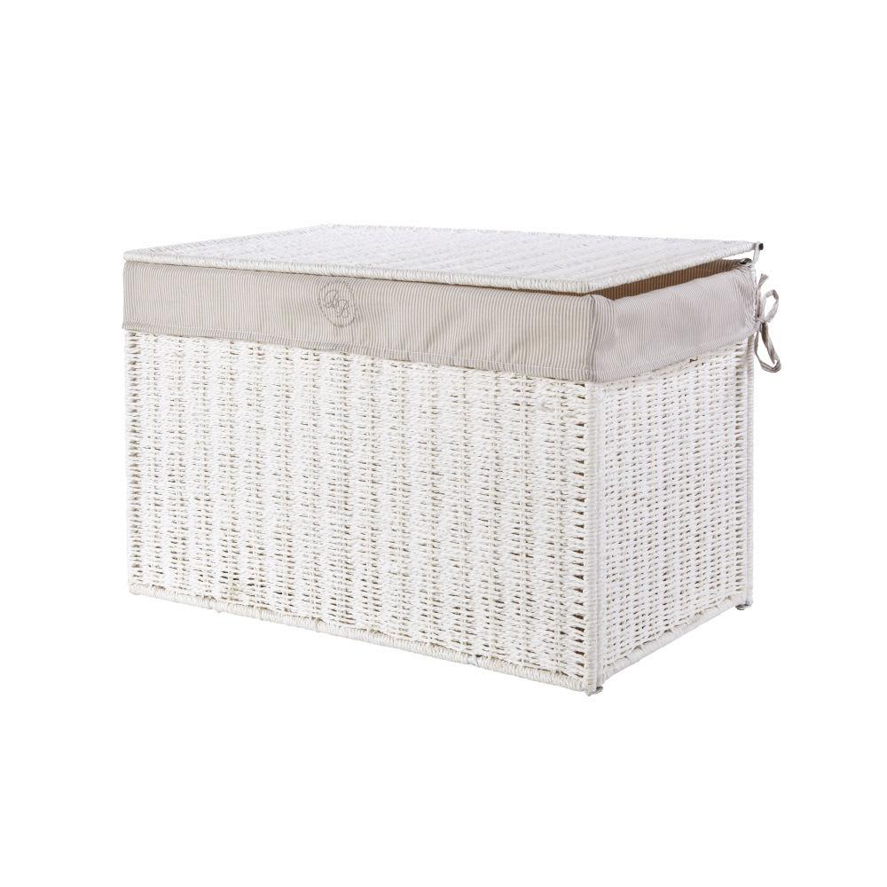 malle de rangement en osier blanc saint honore maisons. Black Bedroom Furniture Sets. Home Design Ideas