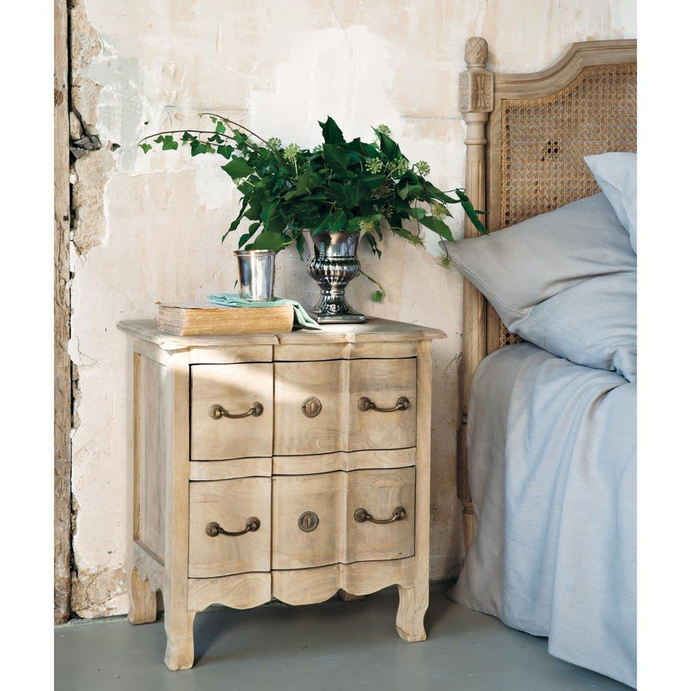 Mango Wood And Acacia Bedside Table With Drawers Colette