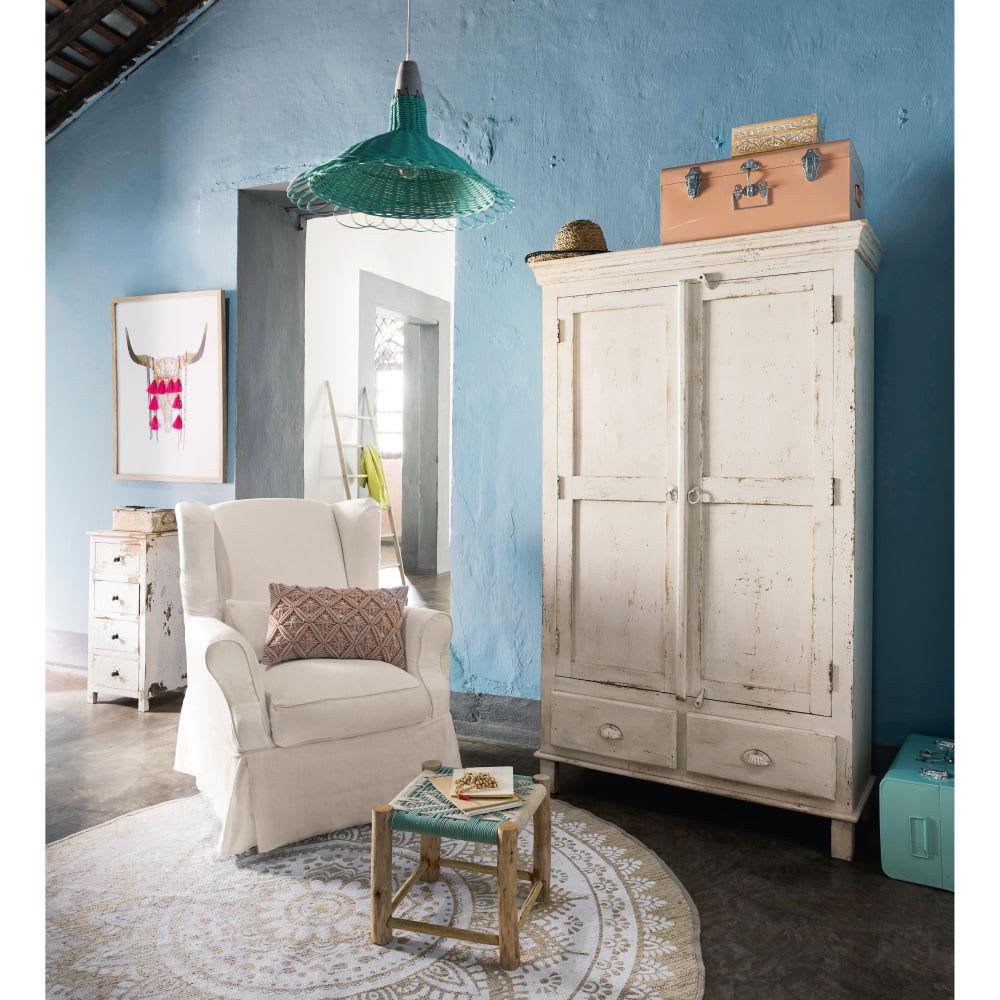 Mango wood and blue woven cotton stool moana