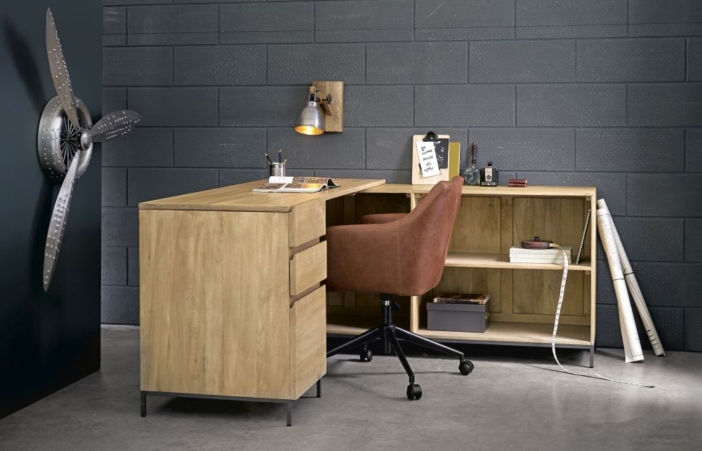 Mango wood and metal door drawer corner desk wilson maisons