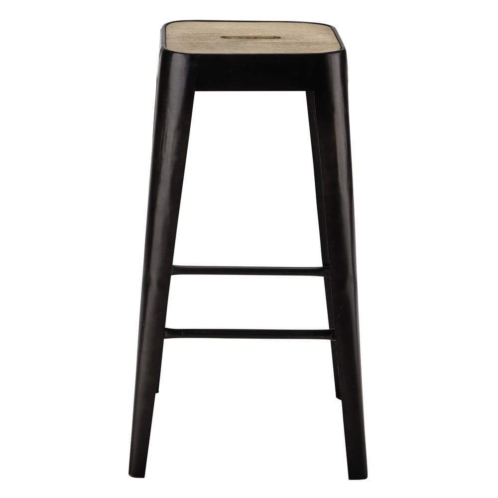 Mango Wood And Metal Industrial Bar Stool Manufacture Maisons Du Monde