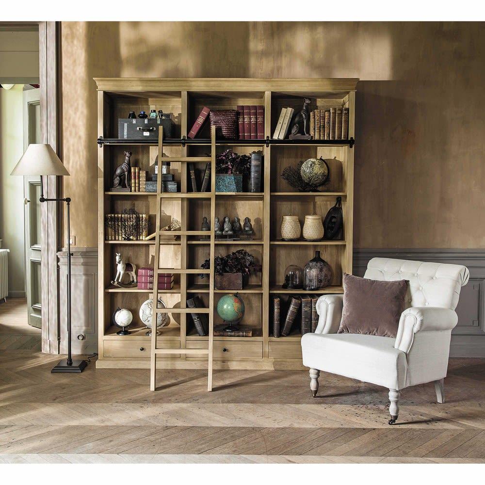Mango Wood Bookcase with Ladder Naturaliste   Maisons du Monde