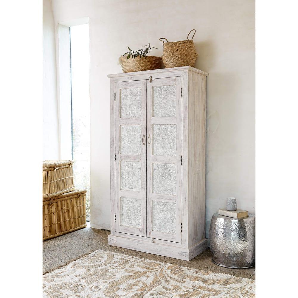 Mango wood wardrobe in white with distressed finish w 90cm taj