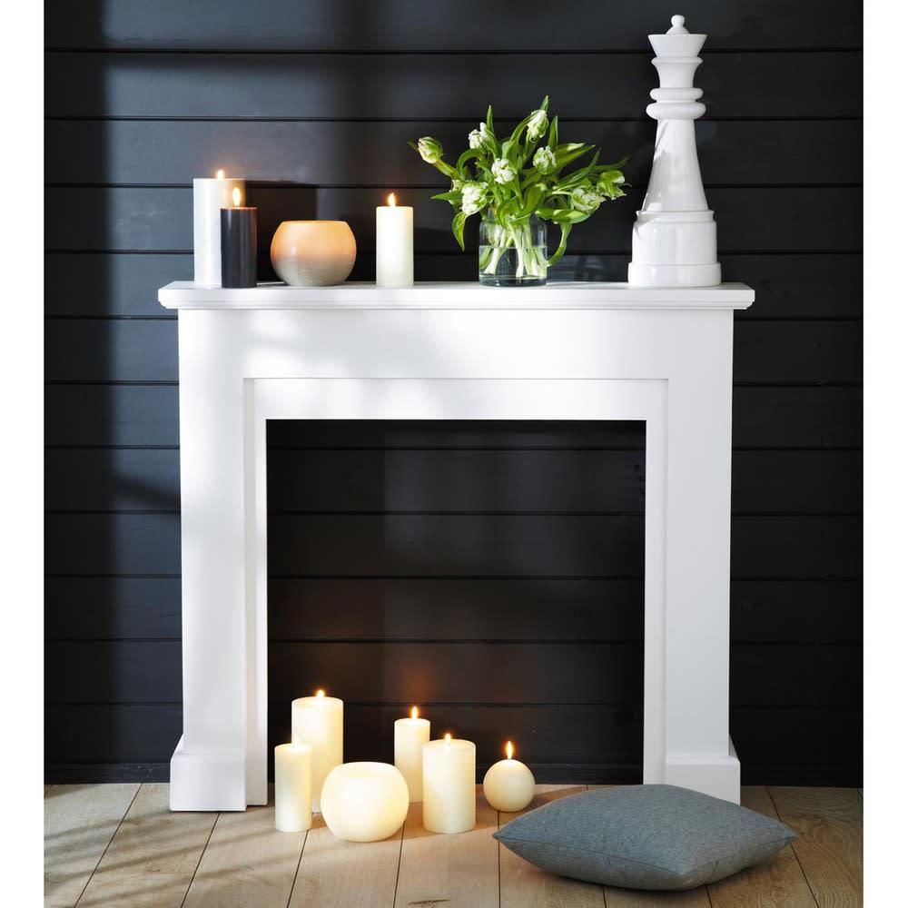 manteau de chemin e d coratif blanc freeport maisons du. Black Bedroom Furniture Sets. Home Design Ideas