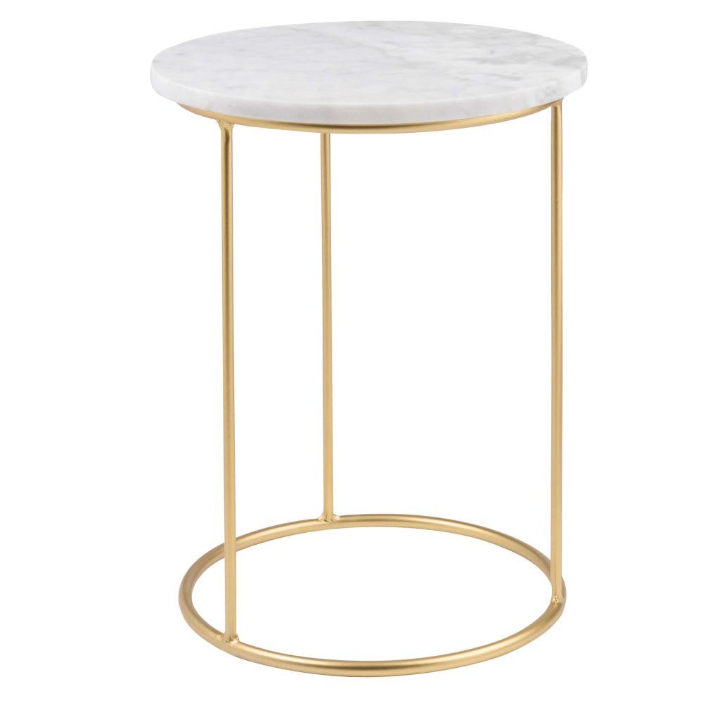 marble  matte gold metal side table olga maisons du monde