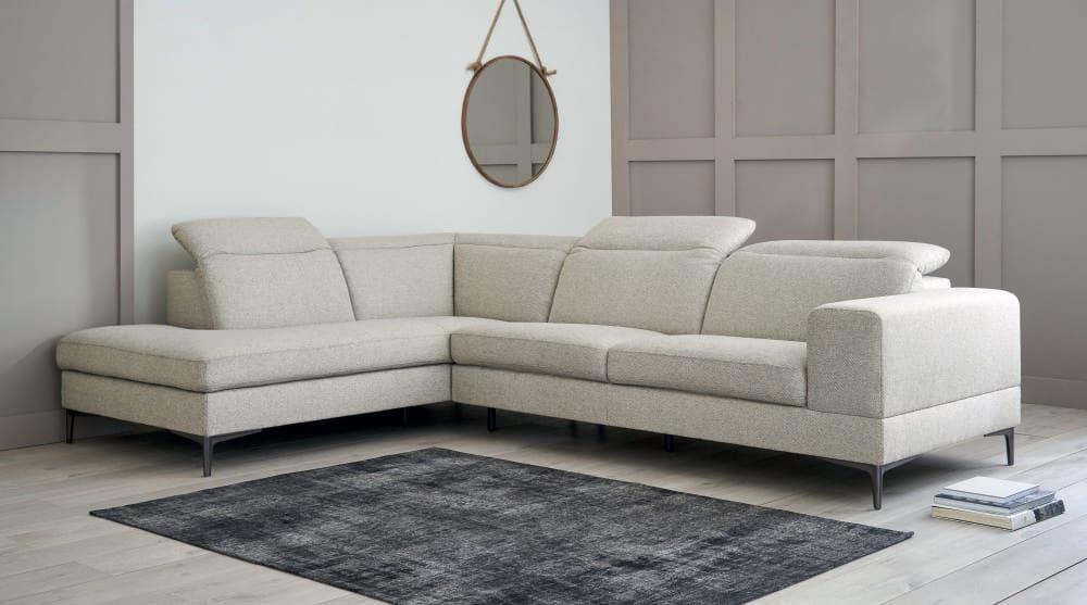 Marled Light Grey 4/6-Seater Left-Hand Corner Sofa Zurich ...