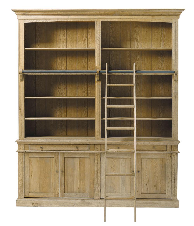 Eiken Houten Boekenkast.Massief Eikenhouten Boekenkast Met 2 Lades 4 Deuren En Ladder
