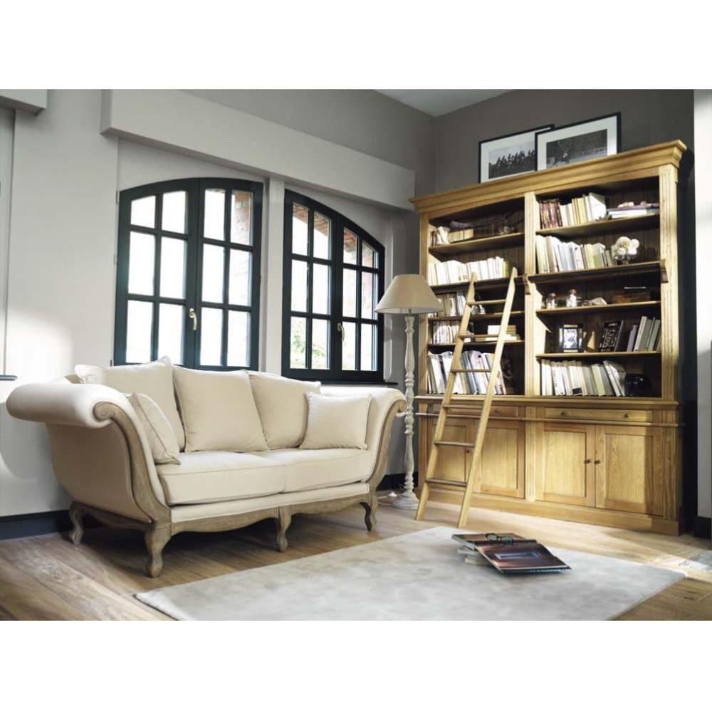Klassieke Eikenhouten Boekenkast.Massief Eikenhouten Boekenkast Met 2 Lades 4 Deuren En Ladder