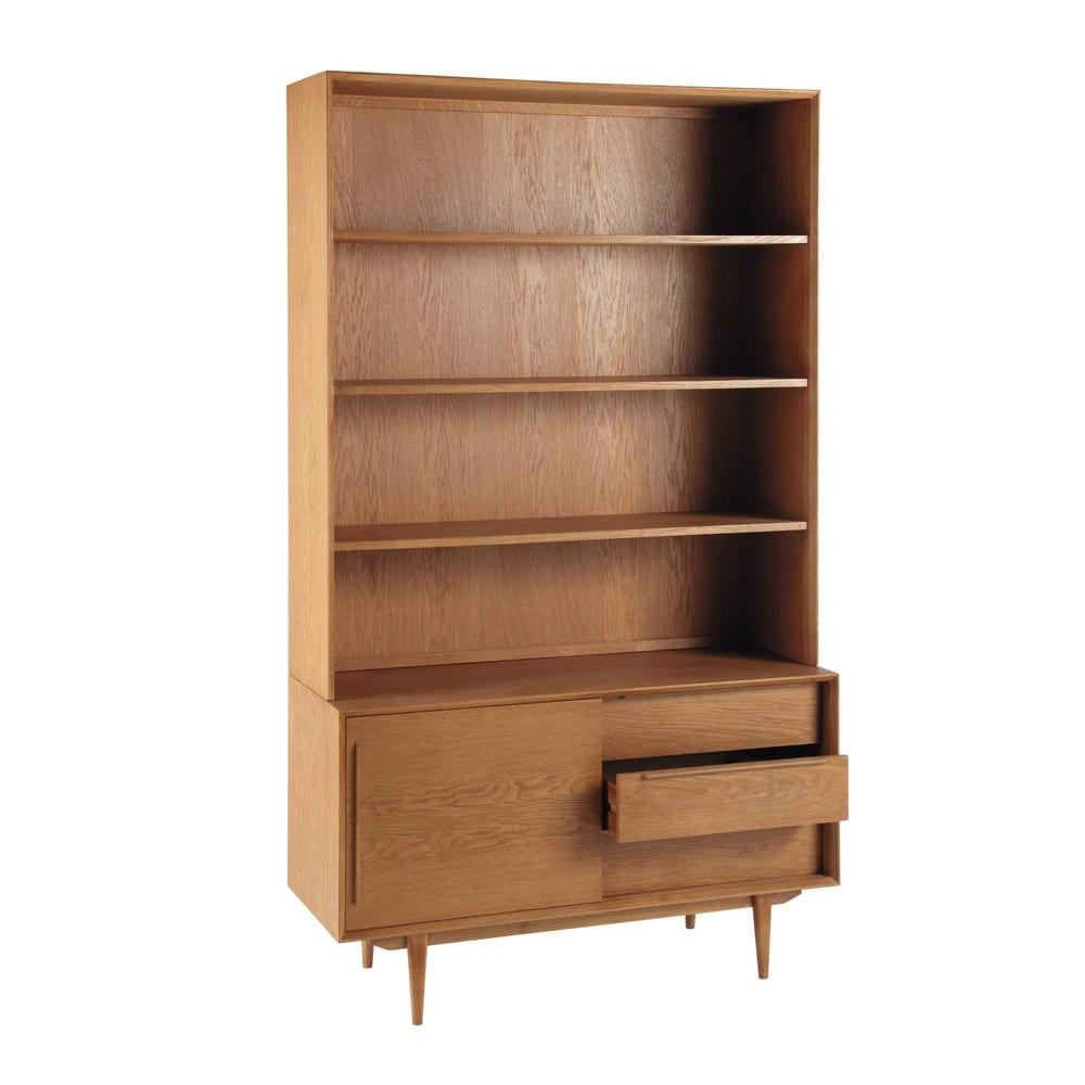 Klassieke Eikenhouten Boekenkast.Massief Eikenhouten Vintage Boekenkast Met 3 Lades En 1 Deur