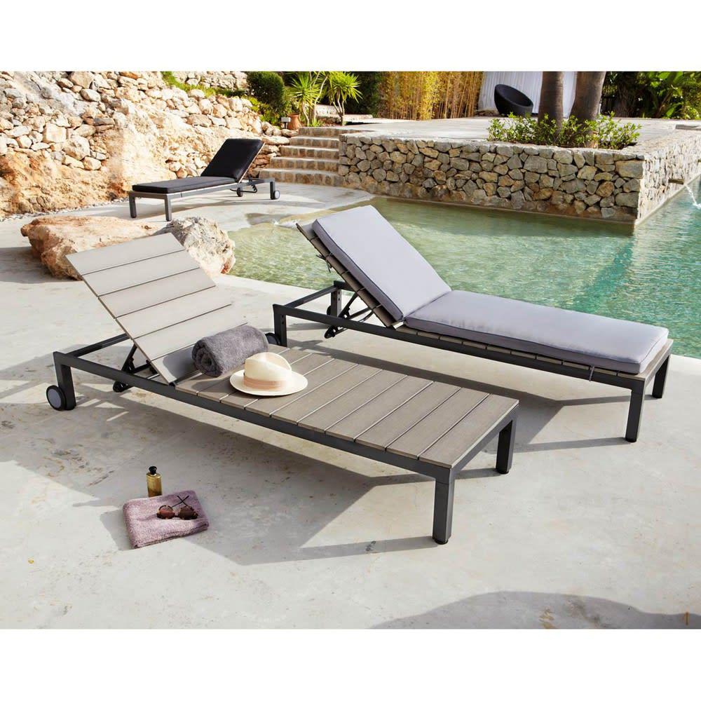 matelas bain de soleil noir sunny maisons du monde. Black Bedroom Furniture Sets. Home Design Ideas