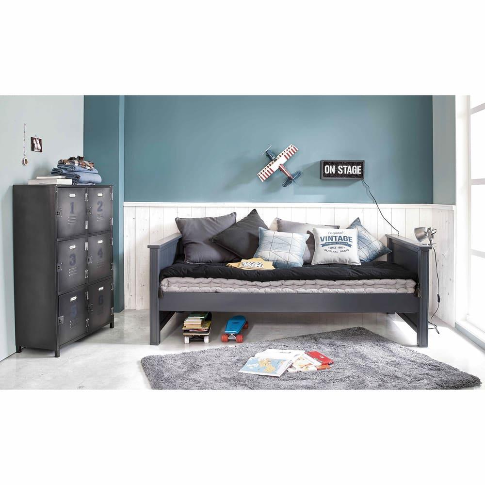 matelas gaddiposh en coton gris anthracite 90x190. Black Bedroom Furniture Sets. Home Design Ideas