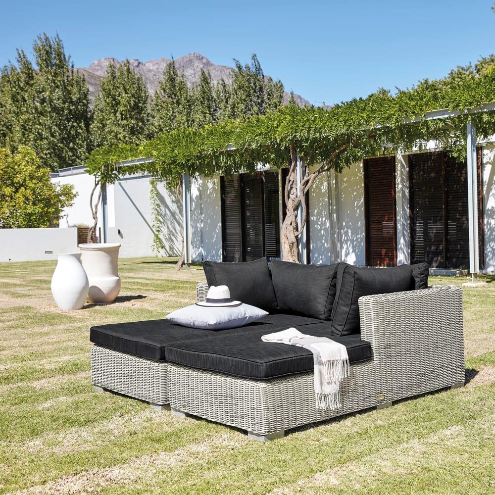 Méridienne droite de jardin en résine tressée grise Cape Town ...