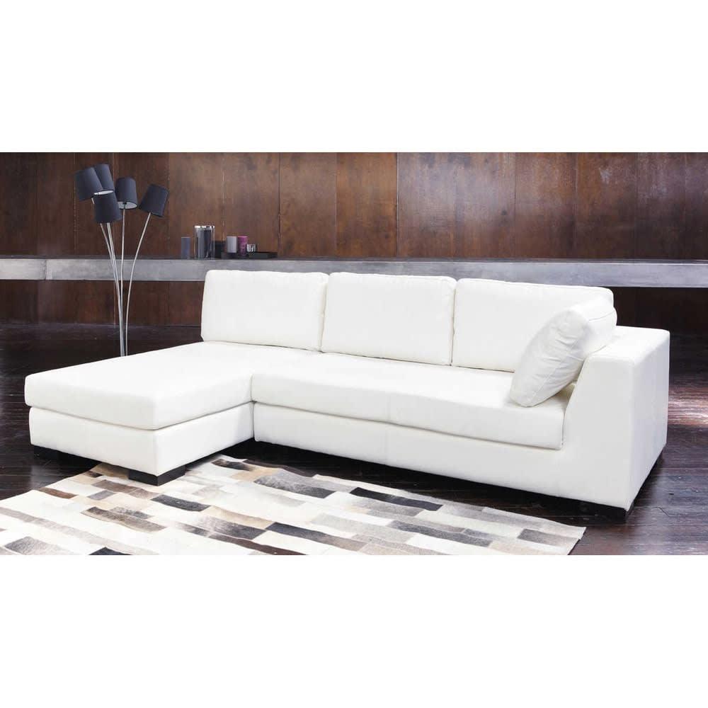 m ridienne en cuir blanche terence maisons du monde. Black Bedroom Furniture Sets. Home Design Ideas