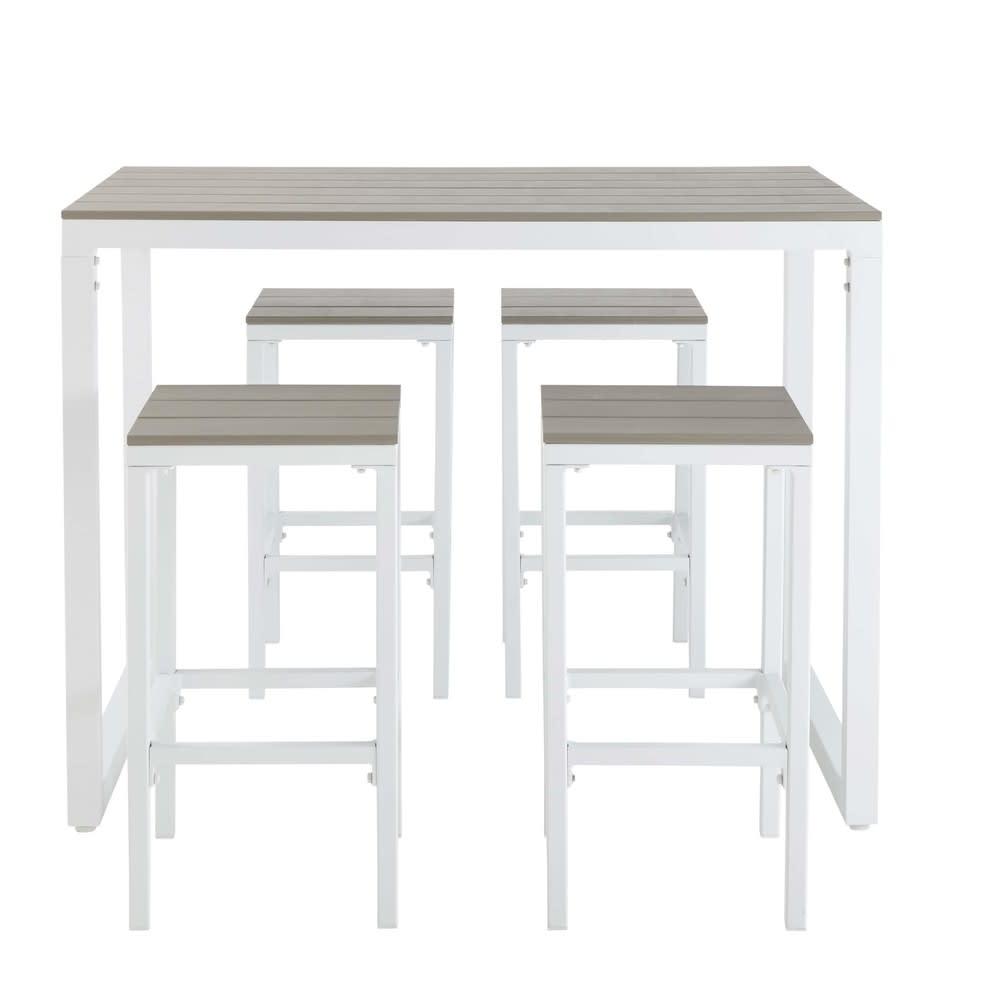 Mesa alta de jard n con 4 taburetes de aluminio - Taburetes maison du monde ...